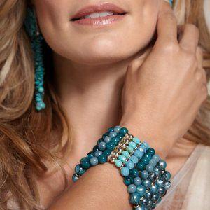 Chico's Fiona Turquoise Blue Beaded Cuff Bracelet